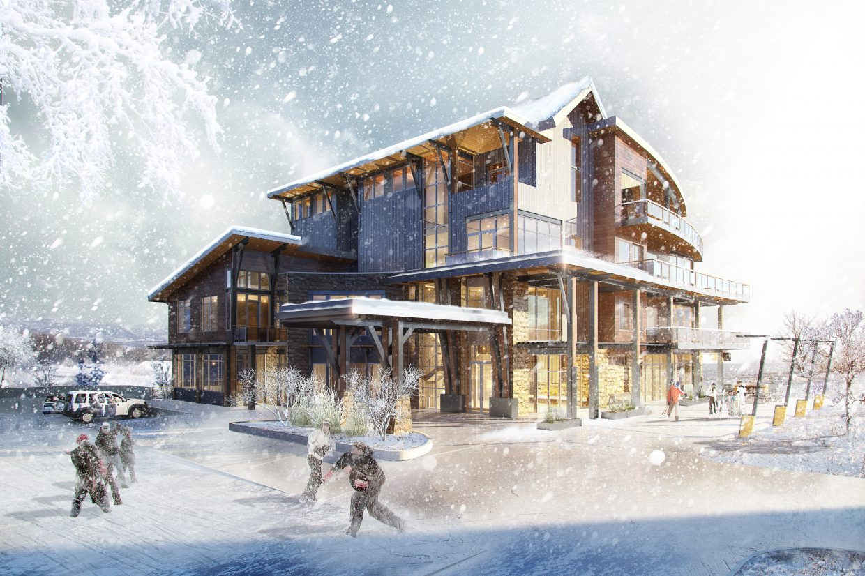 Construction has begun on a four-story office building with a restaurant on its first floor across from Trailhead Lodge at Wildhorse Meadows. The building was designed by Vertical Arts Architecture and will serve as offices for the Deer Park Road Corp. hedge fund.