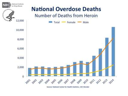 National Overdose Deaths—Number of Deaths from Heroin. The figure above is a bar chart showing the total number of U.S. overdose deaths involving heroin from 2001 to 2014. The chart is overlayed by a line graph showing the number of deaths by females and males. From 2001 to 2014 there was a 6-fold increase in the total number of deaths.