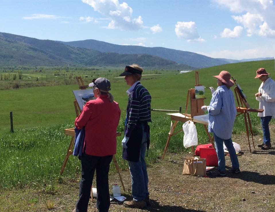 "Another beautiful day overlooking the Yampa Valley. Students in ""Primed for Plein Air"" workshop through the Steamboat Art Museum enjoy the sunny morning at Chuck Lewis Wildlife Refuge. Instructors: Chula Beauregard and Shirley Stocks. Submitted by Chula Beauregard."