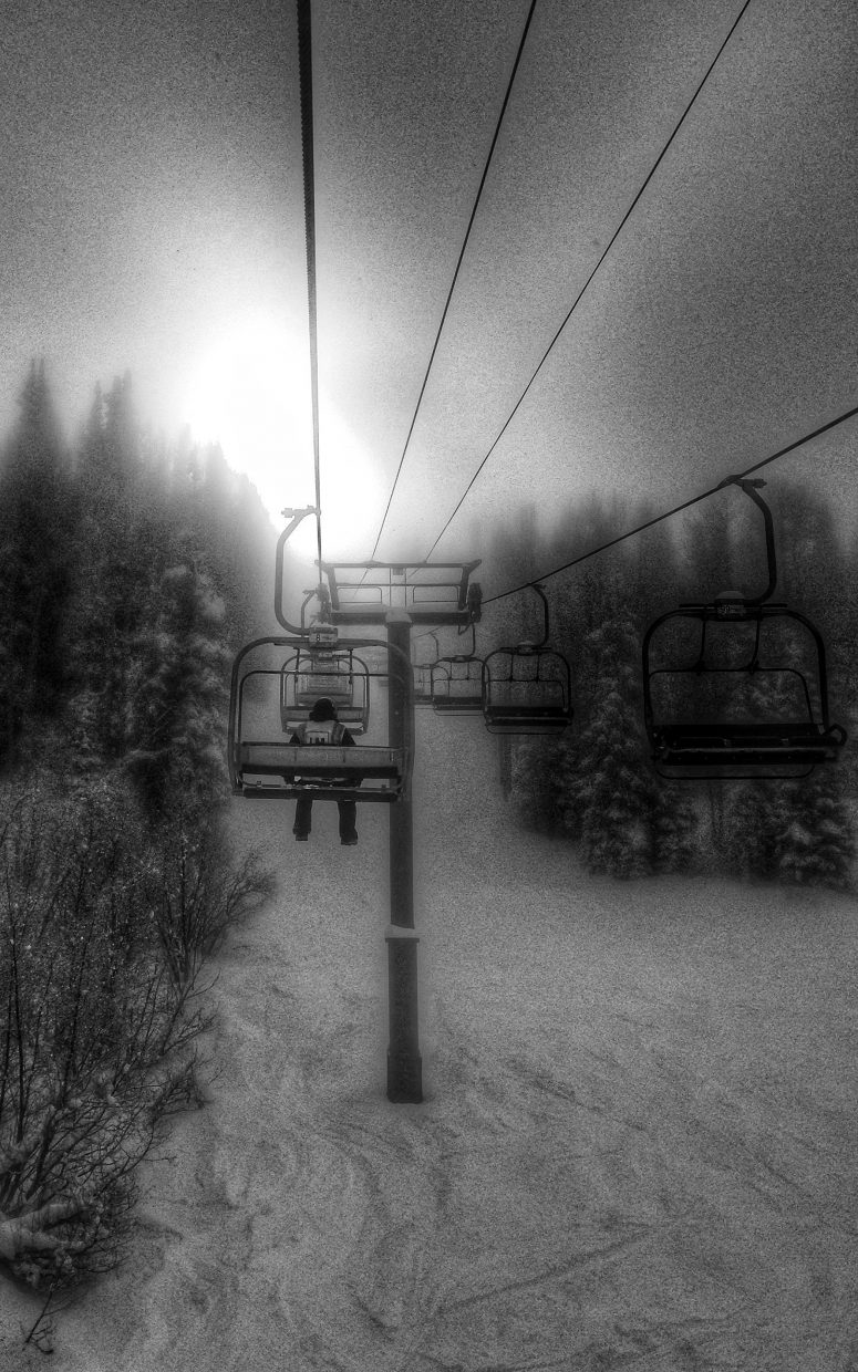Lift maintenance employee, Burgess Creek Chairlift, during December's first week of frigid temperatures. Submitted by: Chris Lanham