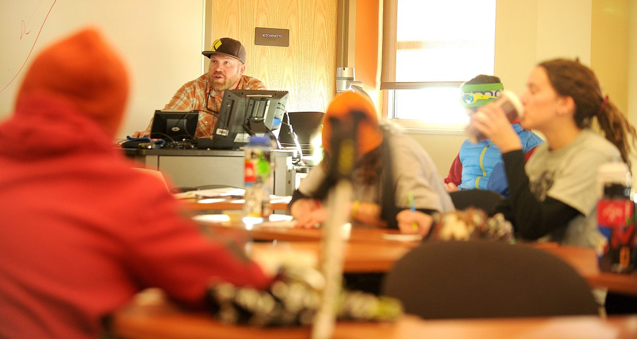 Cody Perry teaches an avalanche awareness class at Colorado Mountain College.