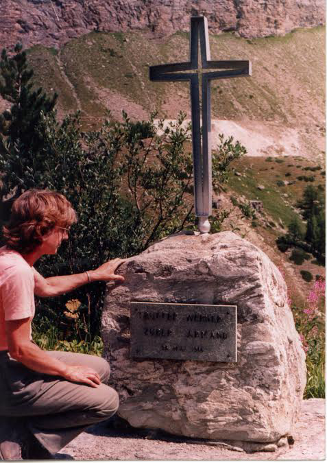 A memorial marks the sport where Buddy Werner died in Switzerland. (Tread of the Pioneers Museum/courtesy)