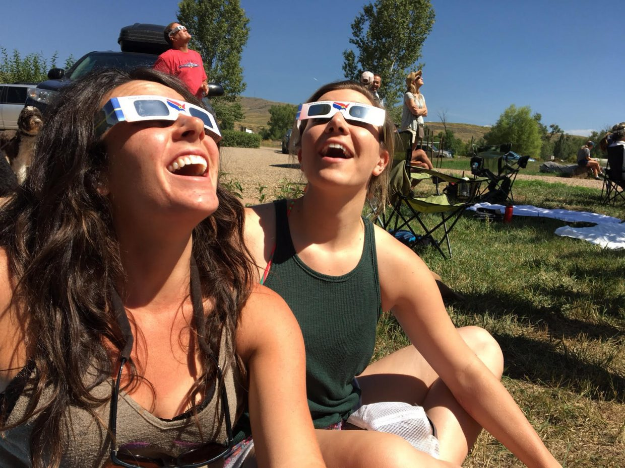 Michael Marchand and Kelly Dohn watch and wait for the eclipse at Yampa River State Park.