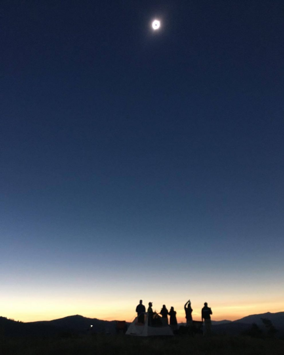 Emily Schweitzer took this photo of friends during their trip to view the eclipse in Wyoming.