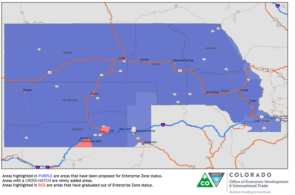The area shaded in purple represents locations that will be included in the Northwest Colorado Enterprise Zone beginning Jan. 1. The majority of the area around Steamboat was previously included in the Enterprise Zone while the city of Steamboat Springs was excluded.