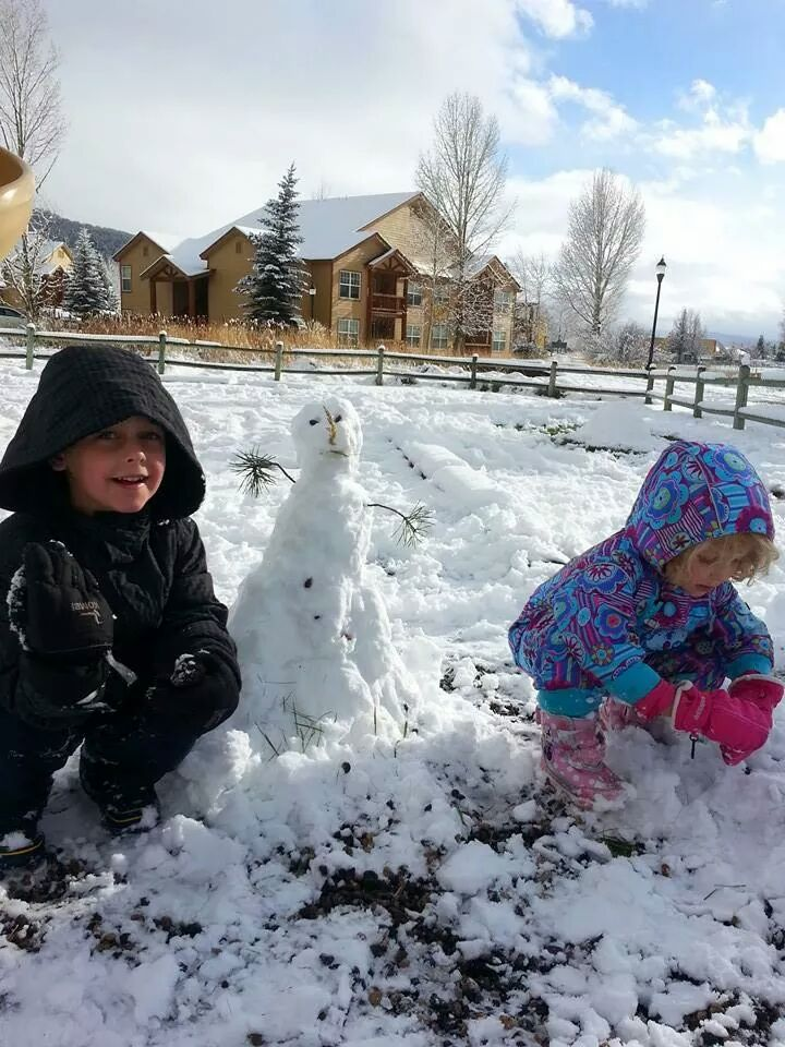 Jayden and Bailey building their first snowman of the year. Submitted by: Jayden Holmes.