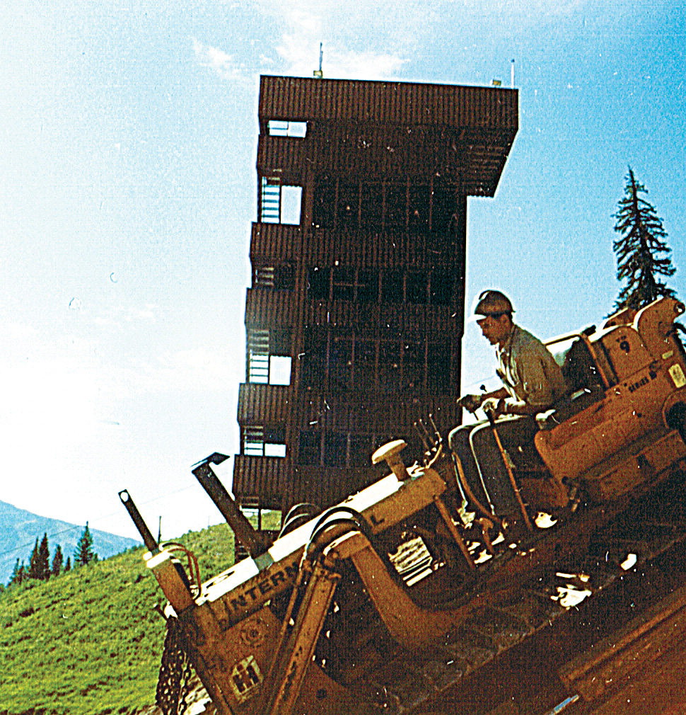 John Fetcher used a bulldozer from his ranch to grade the landing slope at Howelsen Hill while building a new jump complex to replace the one that was burned to the ground in 1972.