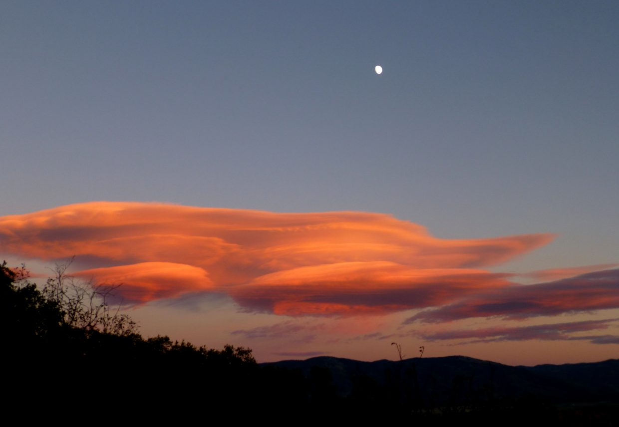 Flying saucer clouds. Taken out by Hilton Gulch. Submitted by: Gail Hanley
