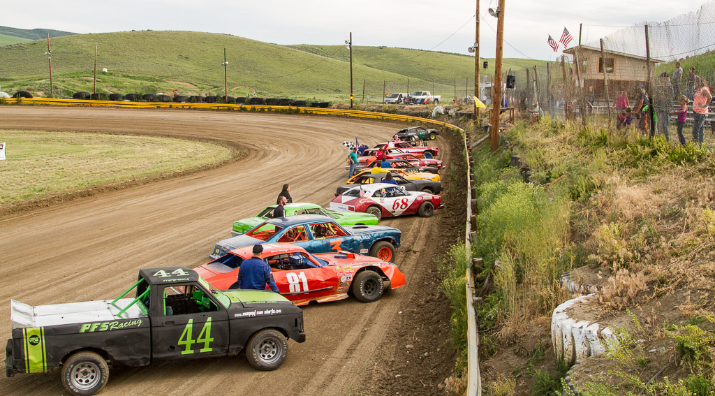 Racers line up for the opening ceremony starting the 2015 season at Hayden Speedway. Submitted by George Fargo.