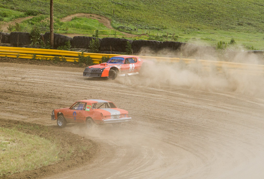 Bert George (81) of Steamboat spins into the barrier at the first turn at Hayden Speedway. Submitted by George Fargo.
