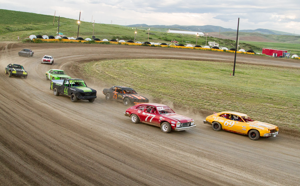 Rolling start of the Mini Class at Hayden Speedway. Submitted by George Fargo.