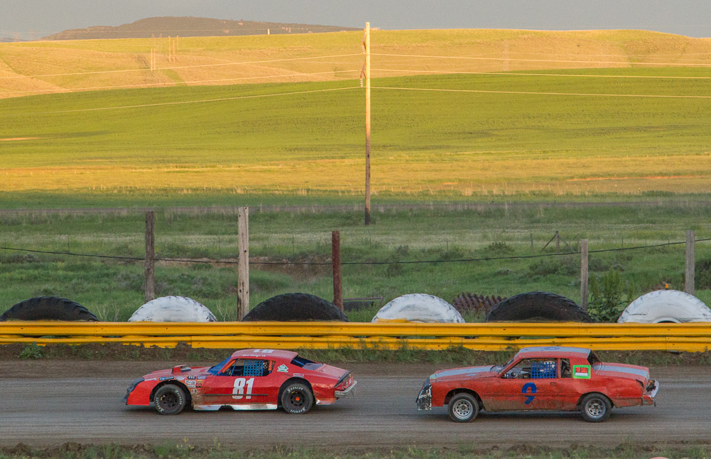 Bert George (81) of Steamboat takes the lead on the way to winning the Stock Class Feature Race at Hayden Speedway. Submitted by George Fargo.