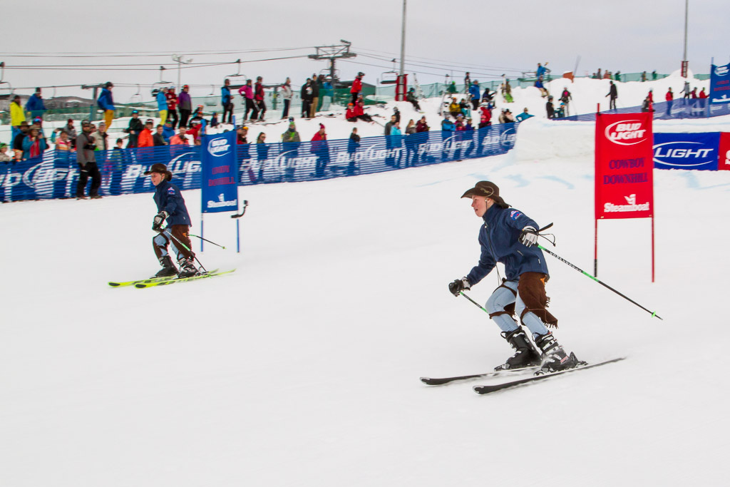 Imogen and Paris McMahon of Canberra, Australia forerun the Cowboy Downhill course. Submitted by George Fargo.