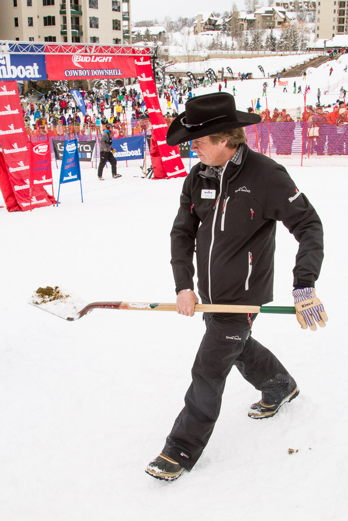 Steamboat PR Director Mike Lane keeps the Cowboy Downhill course clear of - well, you know. Submitted by George Fargo.