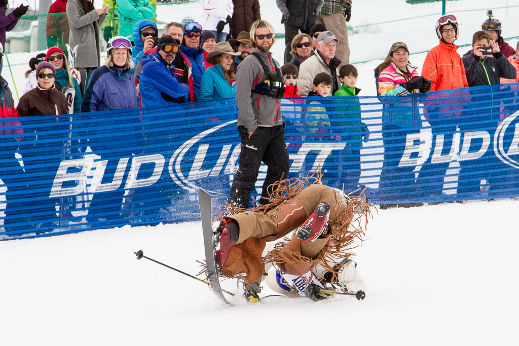 Will Smith rolls down the Cowboy Downhill course on one ski. Submitted by George Fargo.