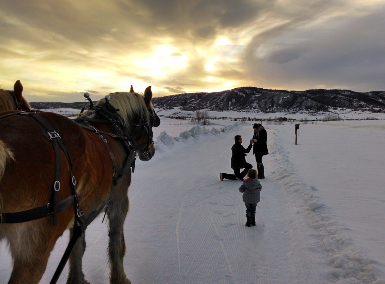 My nephew from Denver, Gavin Berry, proposed to his girlfriend, Ali Simmers, last Friday at sunset on a sleigh ride at Haymaker Golf Course. It was a beautiful and romantic moment! Submitted by: Beth Liggitt
