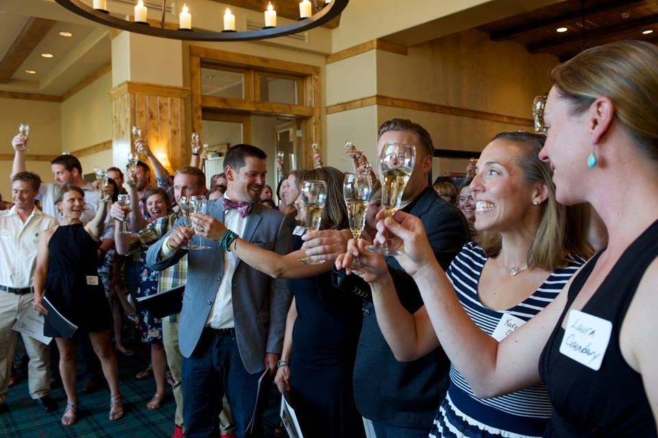 Steamboat Living's 20 under 40 honorees celebrate with a Champagne toast.