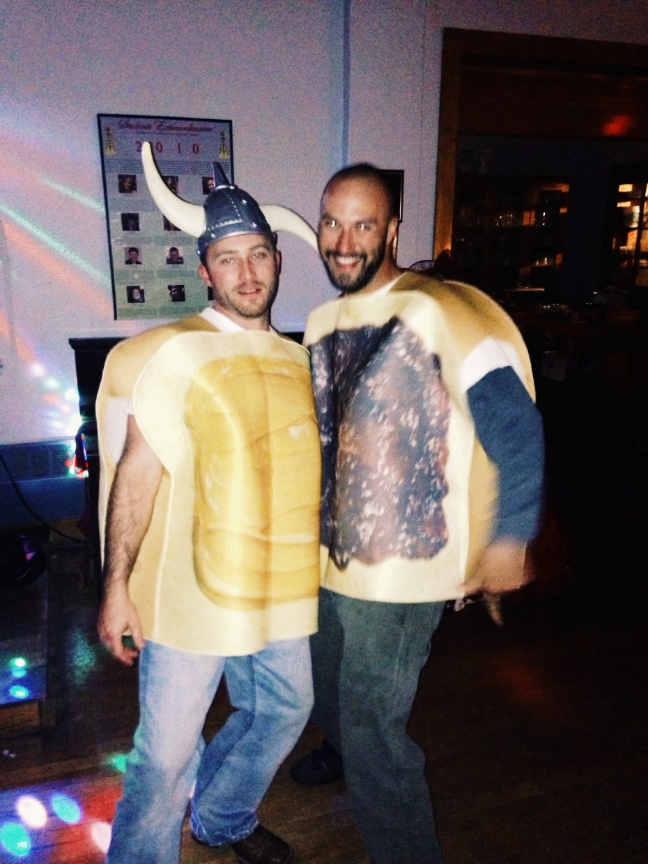 Last weekend at a Halloween party Shon Colquitt and Lance Janak pose for a photo dressed in Halloween costumes as peanut butter and jelly sandwiches.