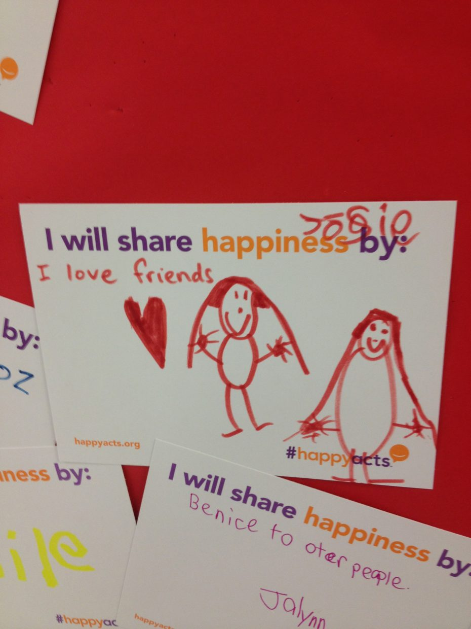 "South Routt Elementary School and Strawberry Park Elementary School celebrated the International Day of Happiness, March 20, by creating ""HAPPY walls."" Submitted by Renee Ellis."
