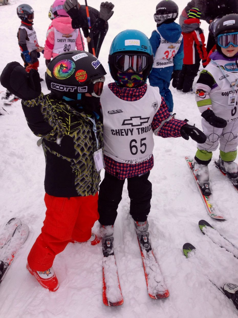 First timers ... Steamboat Springs Winter Sports Club 4-year-olds ready to rip! Logan LeVan and Griff Harvey. Submitted by: Wendy Harvey