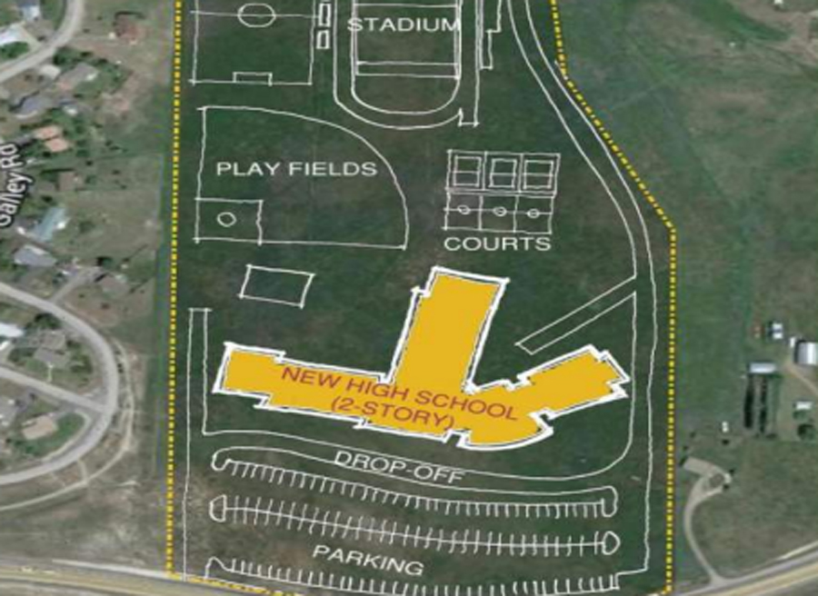 This sketch provided by SlaterPaull/HCM shows how a new high school might be situated on the school district's property in the Steamboat II area.