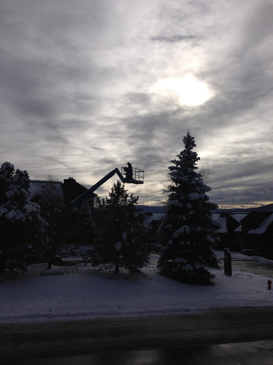 Hanging Christmas light on a beautiful Steamboat. Submitted by Stephanie Keeler.