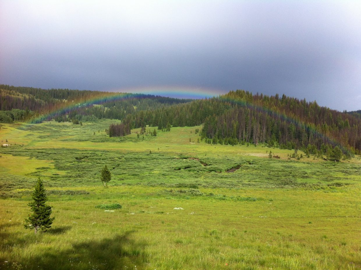 Hiking on fox curve on rabbit ears Thursday afternoon, a 100 yard rainbow appeared in the meadow about 200 yards away from me. Mother Nature gave me a little present! Submitted by: Dustin Bergstrom