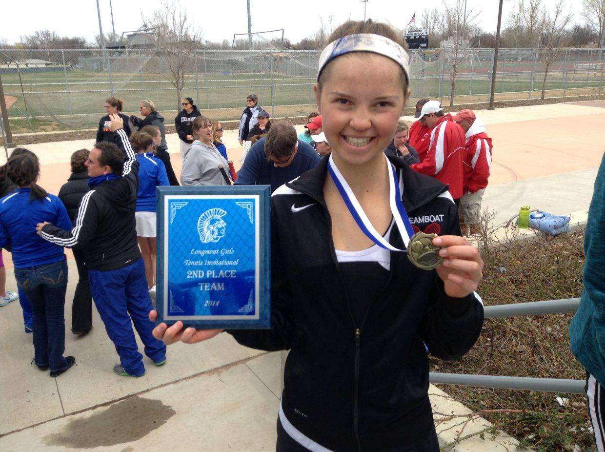 The Steamboat Springs Girls Varsity Tennis team placed second at the Longmont Girls Invitational Tournament this weekend. Kira Lorenzen (pictured with her medal and the team plaque) won at #2 singles. Submitted by Patrice Lorenzen.