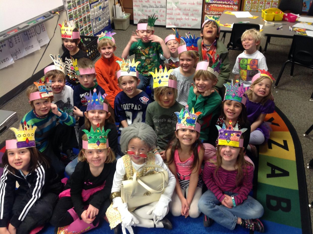 100th day of kindergarten at Strawberry Park Elementary School, in Ms. Harris's class. Submitted by Carol Harris.