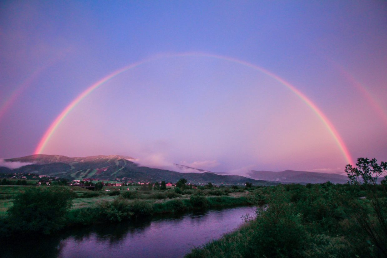 Double rainbow over the Yampa from Monday and sunrise Tuesday morning over Steamboat. Submitted by Sparky Paessler.