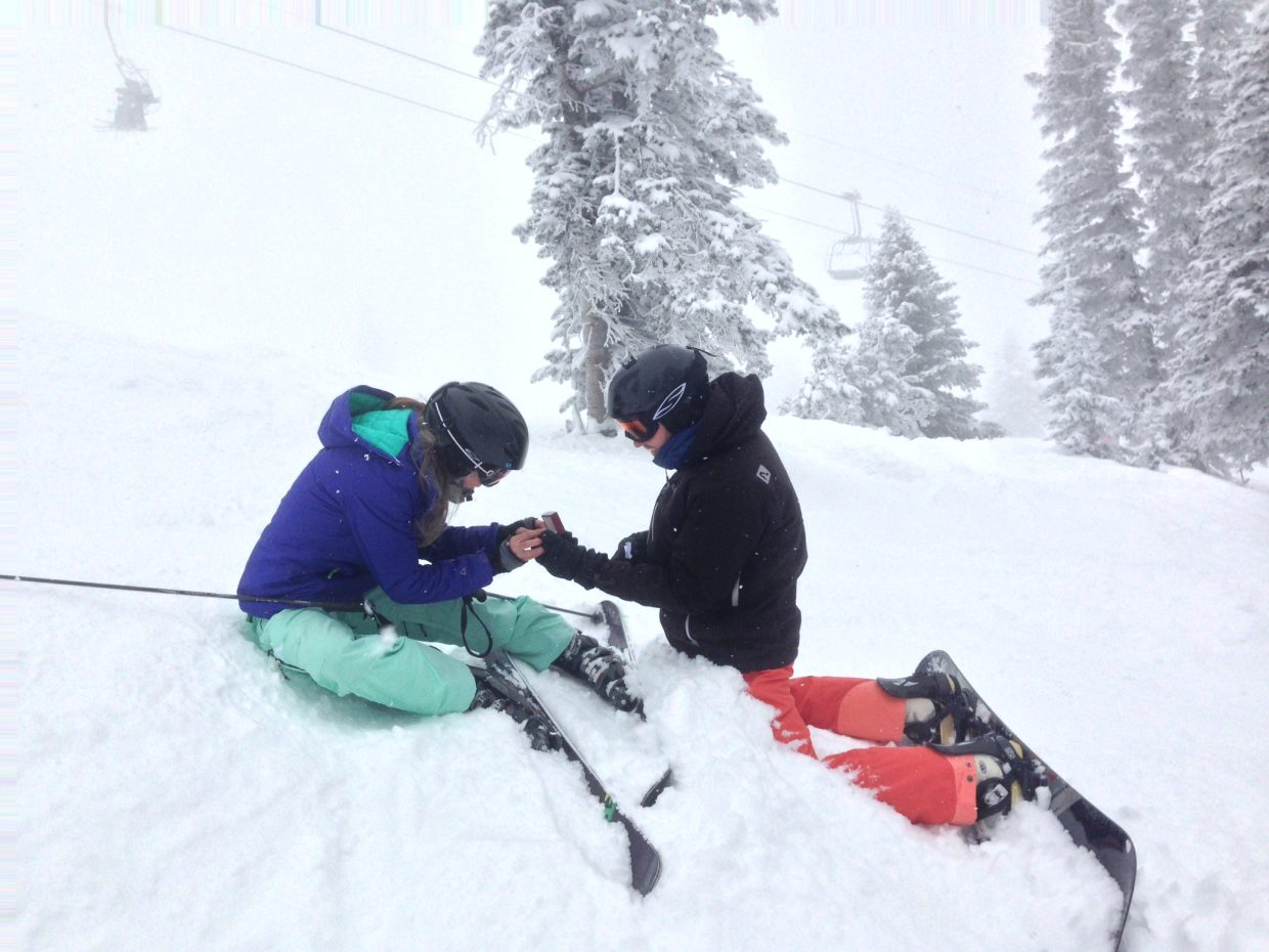 Just wanted to share that I got engaged this weekend at Steamboat. I was skiing amazing powder with my boyfriend and two best friends, when he called me over into the trees. I went over there and he got down on both knees (he's a snowboarder... Still love him anyway) and proposed. Best day ever! Submitted by: Margot Kelly