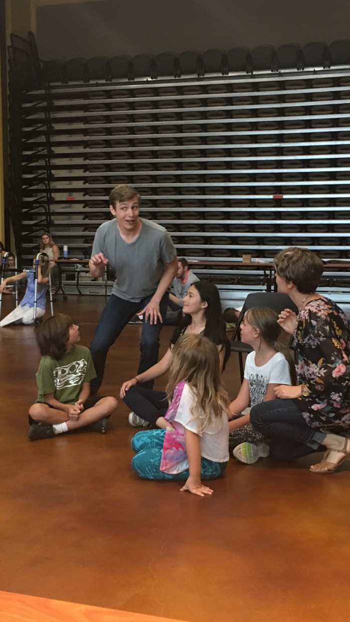 """The cast practices for """"Fantastic Mr. Fox,"""" which will be performed by the Emerald City Opera at the Larson Barn this weekend."""