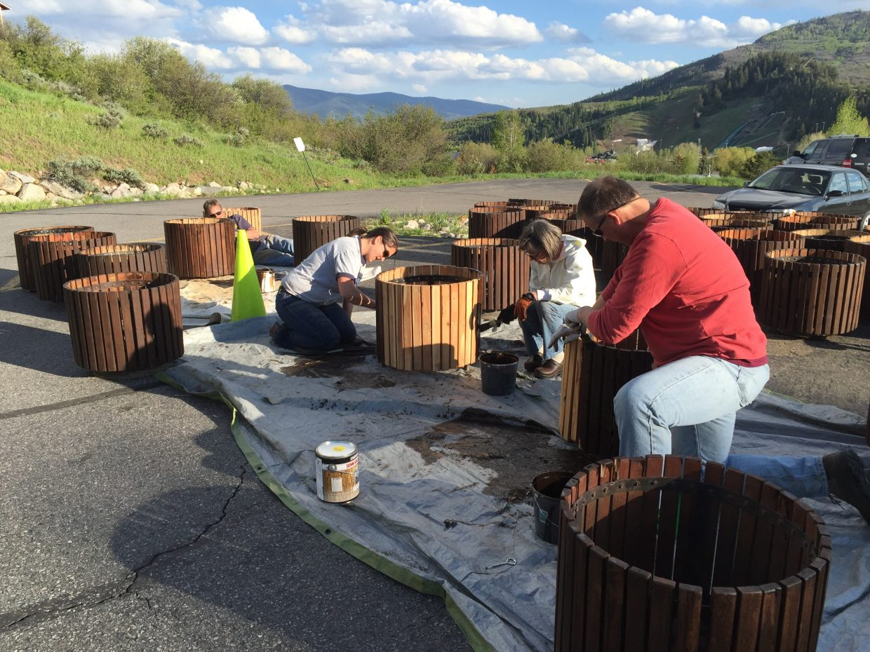 The Rotary Club of Steamboat Springs is working on the organization's annual flower barrel project, which helps beautify downtown and area homes and businesses. Rotarians Tara Weaver, Paula Cooper Black and Chris Stillwell were among the volunteers who gathered at the Colorado Mountain College's Alpine campus Wednesday night to help repair the barrels in preparation for fresh plantings of flowers. Flower barrels are still for sale and can be ordered online for $110 each by visiting rotaryproud.com and completing the order form. Proceeds from flower barrel sales benefit local nonprofit organizations in Routt County through the Rotary grant program. For more information, contacting Gillian Morris at 970-846-1953 or gilliandmorris@gmail.com.