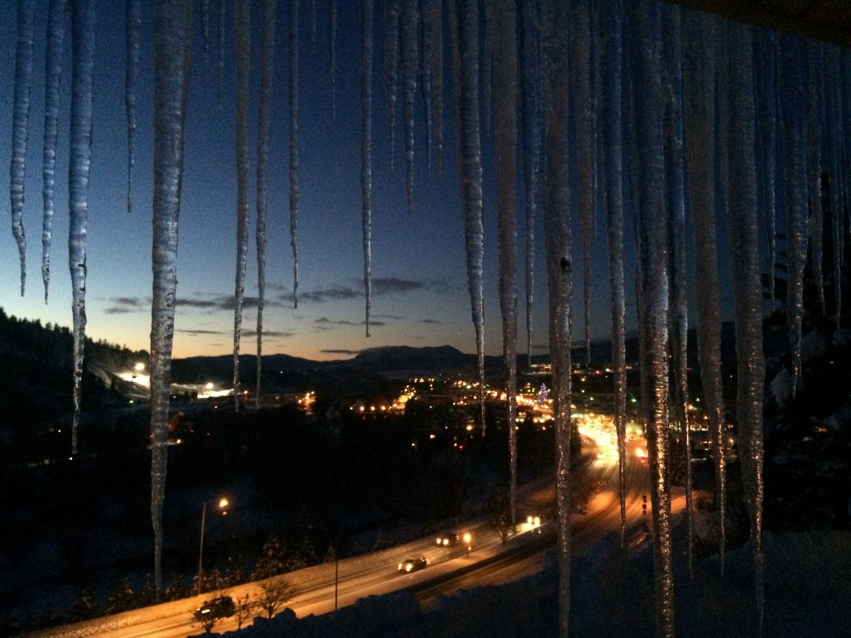 """""""This is a picture I took overlooking the sleeping giant at sunset through icicles on the cold crisp night this Christmas Eve 2015."""" Submitted by Jessica Pickett."""