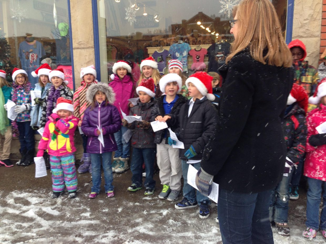 Heritage Christian students caroling downtown on Friday. Submitted by: Karen Strong