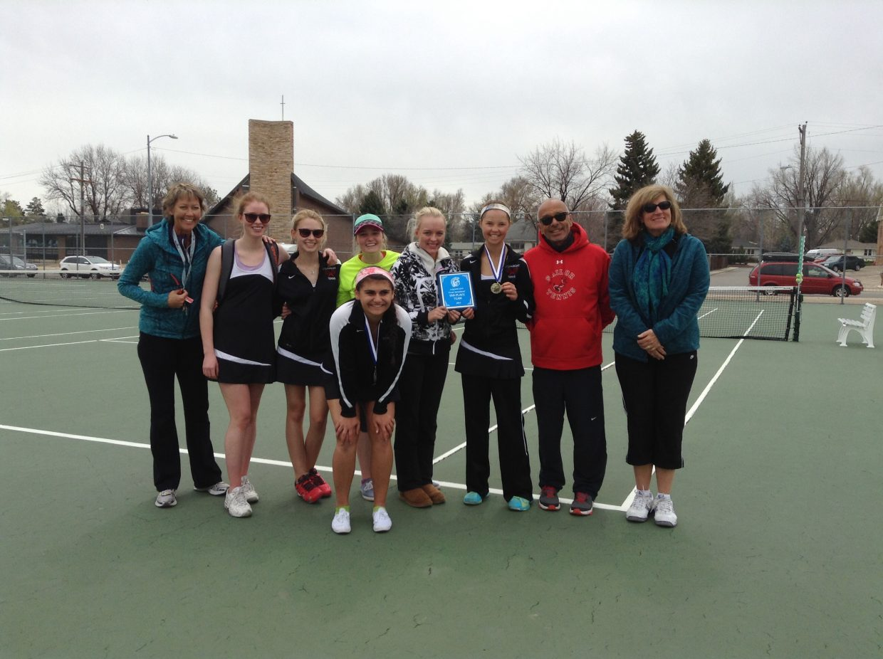 The Sailors Varsity Tennis team won 2nd place at the Longmont Tennis Girls Invitational this weekend. (Shown here with coaches). Kira Lorenzen won 1st place at #2 singles. Ellie Bender and Maddie Labor won 2nd place in #1 and #3 singles, respectively. Maddie and Emmie Thompson won 3rd place at #1 doubles and Shannon Ross and Sydney Boyd won 3rd place at #3 doubles. Submitted by Patrice Lorenzen.