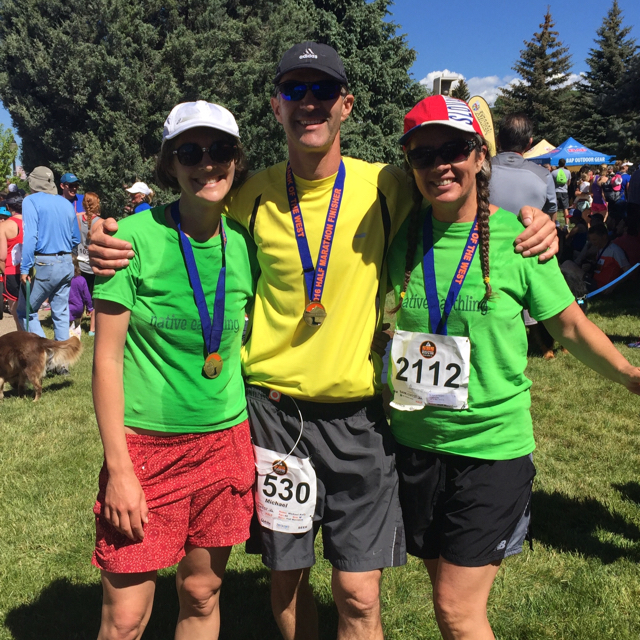 Beautiful day running the Steamboat Half Marathon with my sisters Angela and Mary Elizabeth. Submitted by Michael Kelly.