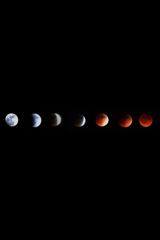 I took these photos during the lunar eclipse April 15. The first photo was taken at midnight and the last photo was taken at 1:46 a.m. Submitted by: Mac Skov
