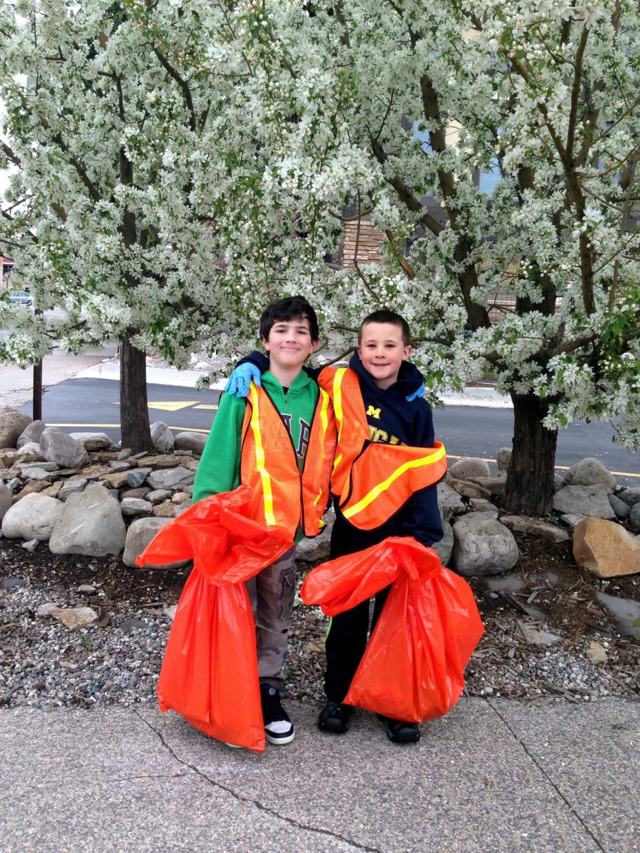 Shane Savalox and Lance Bessey clean up Yampa Street. Submitted by Rebecca Bessey.
