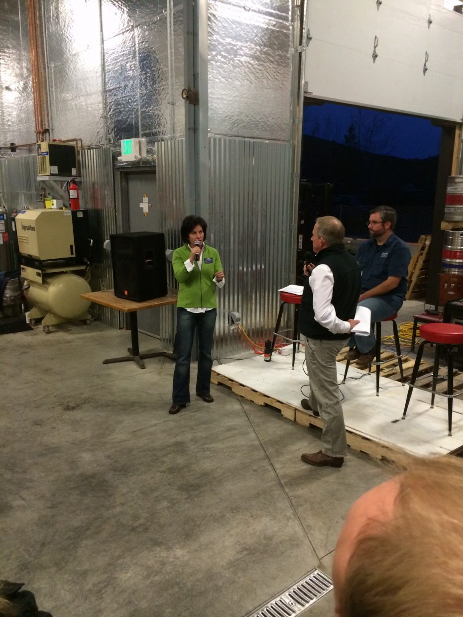 Cari Hermacinski & Steve Ivancie square off in a very entertaining debate at Butcherknife Brewery for the Routt County Commissioner seat Thursday evening. Submitted by: Sean Doran