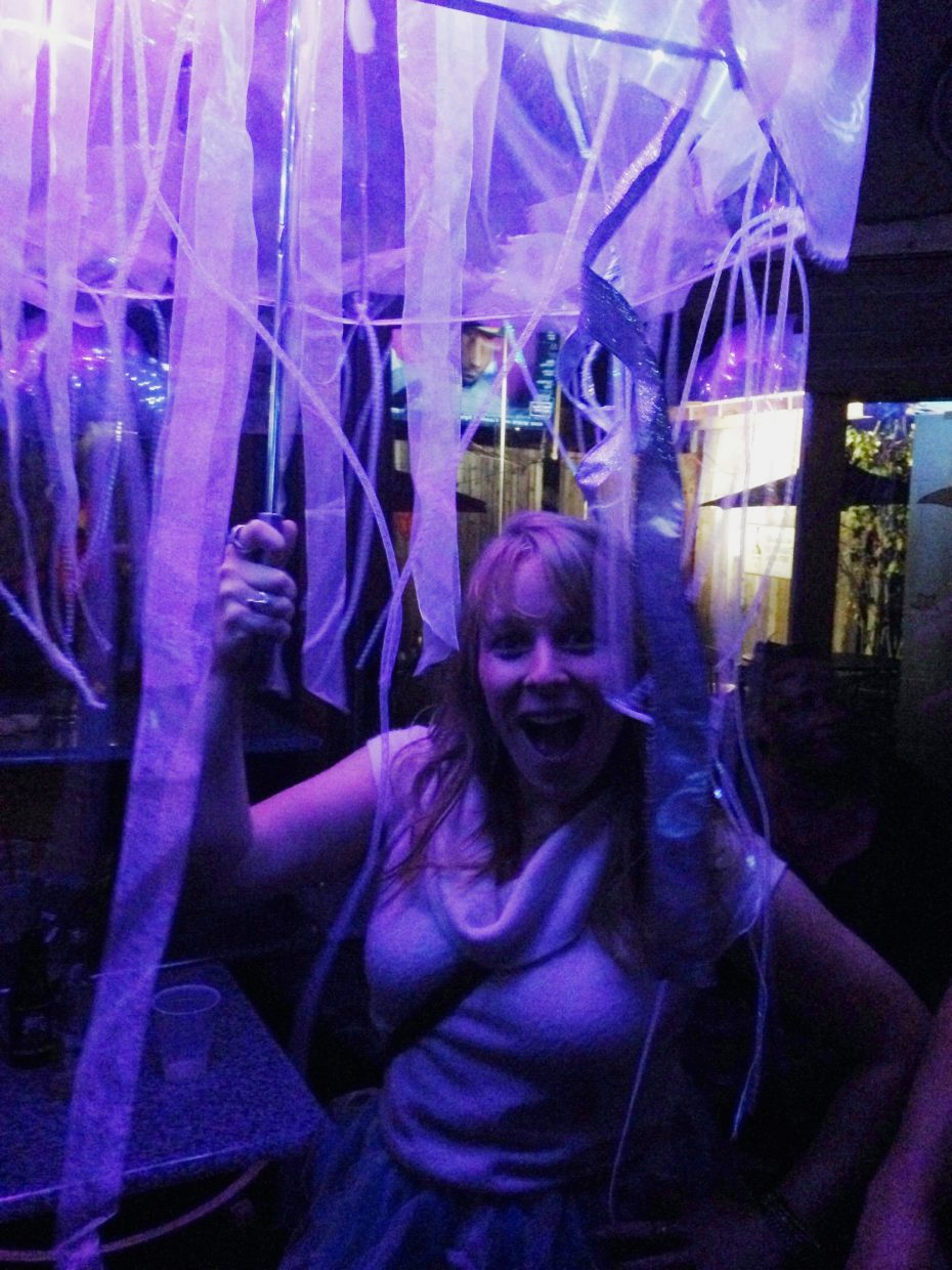 Katie Soulliere dressed as a jellyfish for Halloween poses for a photo at Sunpies last weekend.