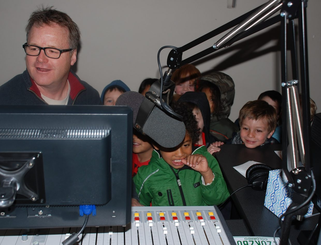 Young Tracks Pre-K visits Brian Harvey at Easy 94.1/ESPN 98.9 to record an ad for their upcoming fundraiser. Submitted by Wendy Harvey.