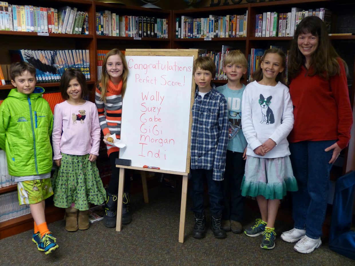 Congratulations to Soda Creek Elementary students who achieved a perfect score on the last Math Olympiad test of the 2013-2014 school year. From left are Wally Magill, Suzy Magill, Morgan Graham, Indi Kretzchmar, Gabe Gray, GiGi Gray, and coach Sally Lambert. Photo by Cristina Magill; submitted by Sally Lambert.