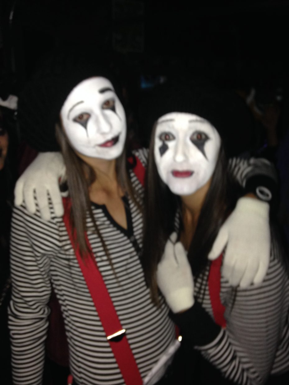 Monique Guimond and Nicole Kalinowski, dressed in costume as mimes for Halloween, pose for a photo at Sunpies last weekend.