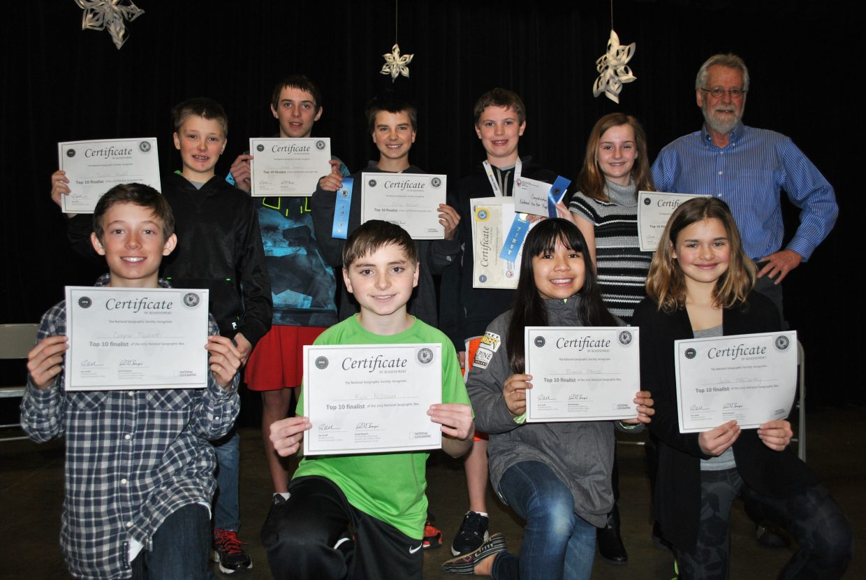 Steamboat Springs Middle School students participated last month in two rounds of the National Geographic Competition. Eighth-grader John Hannaway scored first in the school's competition and found out he is eligible to compete in the state level competition of the National Geographic Bee, taking place March 27 at the University of Colorado's Auraria campus. Sixth-grader Morgan Graham and seventh-grader Ethan Hansen had the second and third highest scores at the school. The school's top 10 finalists, pictured from left in the front row, are Cooper Puckett, Kyle Nilsson, Bianca Perez and Julia McCarthy. In the back row are Tucker Havel, Jason Starks, Hansen, Hannaway and Graham. Not pictured is Keiran Hahn.