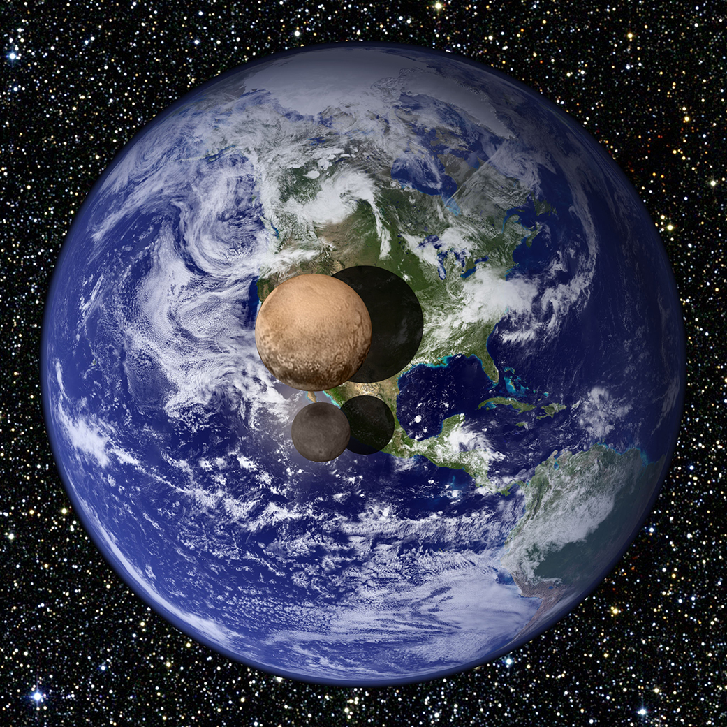 In this artist's conception, the dwarf planet Pluto and its large moon Charon are seen against the much larger, and warmer, planet Earth. NASA's New Horizon's spacecraft photographed Pluto and its moons at close range last week.