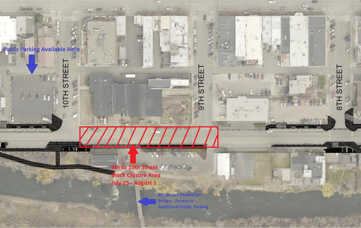 This map shows the Ninth to 10th street closure area on Yampa Street for the week of July 25.