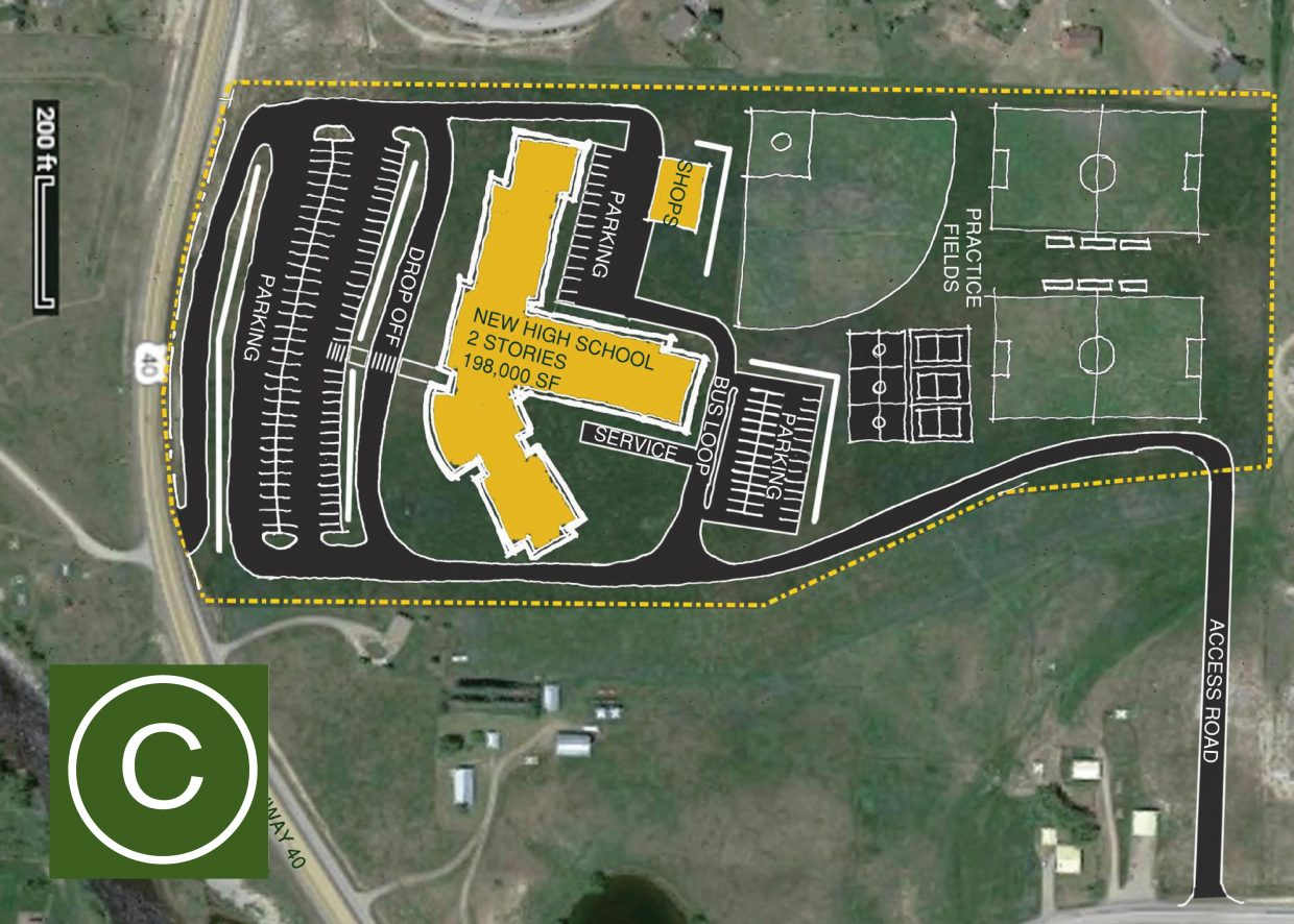 This architect sketch shows how a new 198,000-square-foot high school might be situated on the district's 35-acre property near the Steamboat II subdivision.