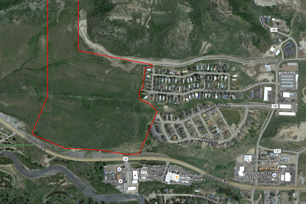 The Steamboat Springs School District has an option to purchase this 70-acre parcel owned by Yampa Valley Electric Association. The property was once approved for a large subdivision called Overlook Park, but the project never came to fruition.