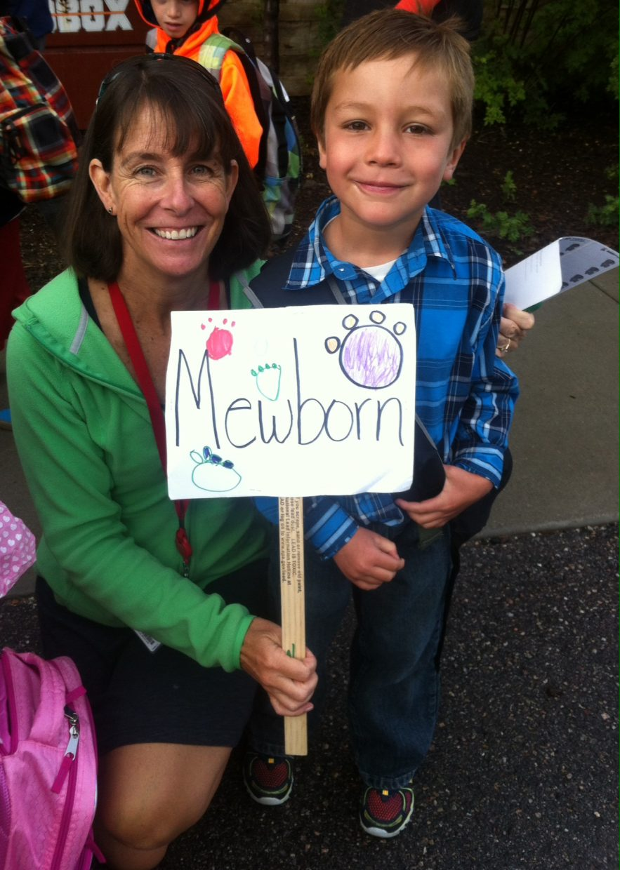 First day of kindergarten. Mateo Rodriguez & Mrs. Mewborn. Submitted by Kelley Foss.